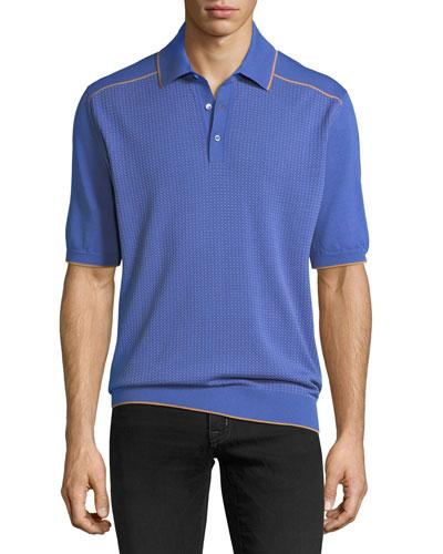 Dot Knit Short-Sleeve Polo Sweater