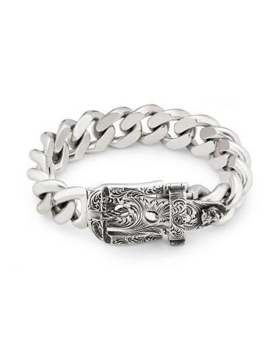 Men's Engraved Buckle-Closure Gourmette Bracelet