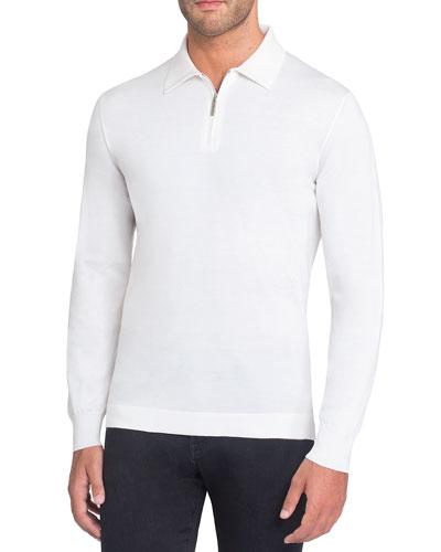 Half-Zip Polo Sweater with Crocodile Trim