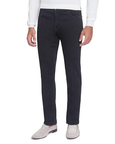 Straight-Leg Denim Jeans, Black
