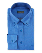 Denim-Weave Dress Shirt