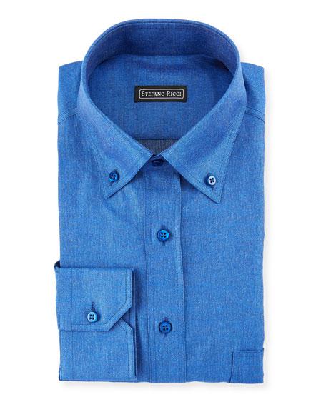 Stefano Ricci Denim-Weave Dress Shirt