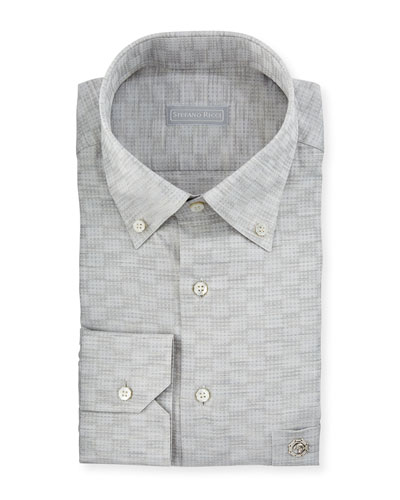 Crosshatch-Pattern Cotton Dress Shirt