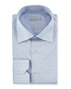Small-Check Dress Shirt with Button-Down Collar