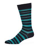 Saba Striped Cotton-Blend Socks