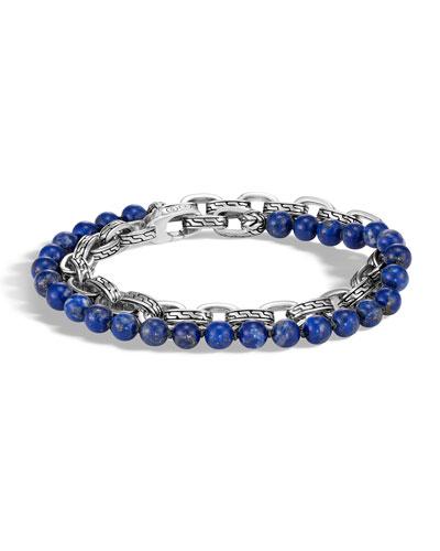 Men's Classic Chain Double-Wrap Bracelet, Lapis