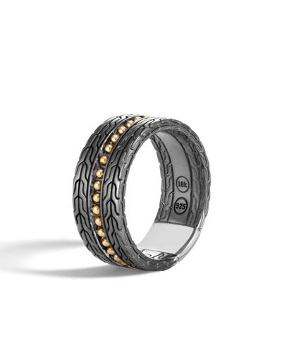 Men's Classic Chain 18k Stud Ring, Size 10