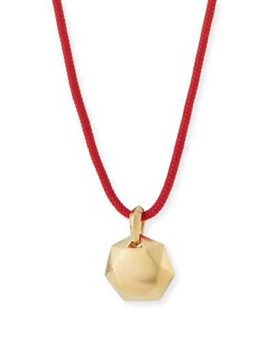 12mm Men's Fortune Pendant in 18K Gold, Red Cord