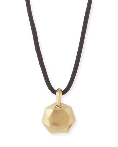 12mm Men's Fortune Pendant in 18K Gold, Black Cord