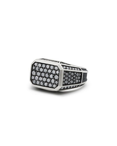 Pave Signet Ring with Black Diamonds