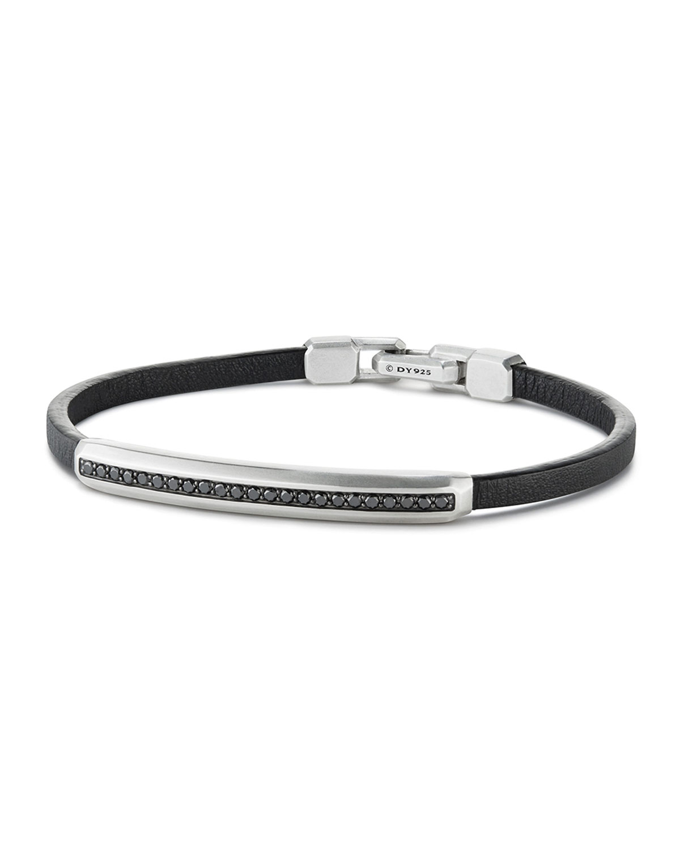 Men's Pave Leather ID Bracelet with Black Diamonds
