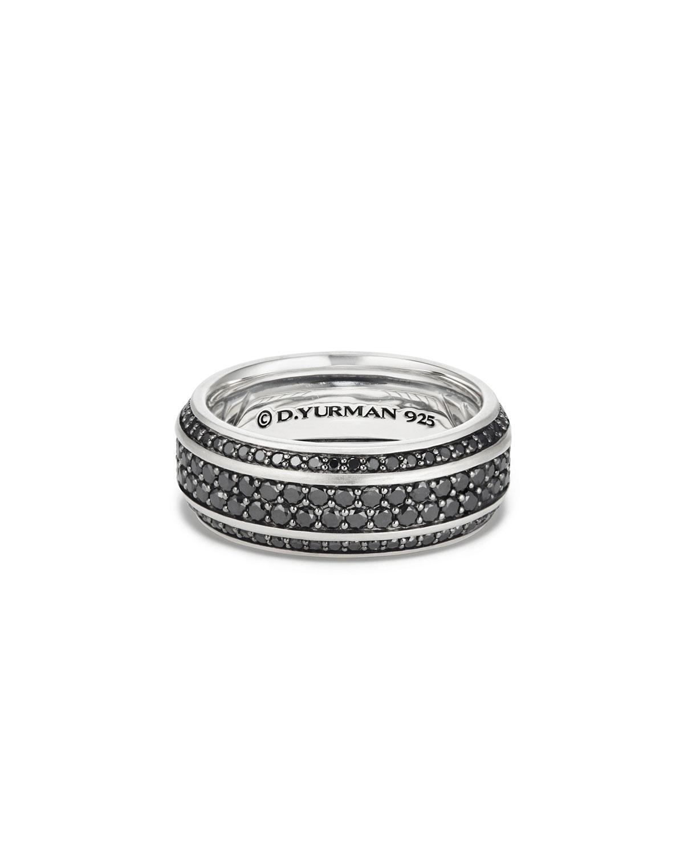 Men's Beveled Edge Band Ring with Black Diamonds