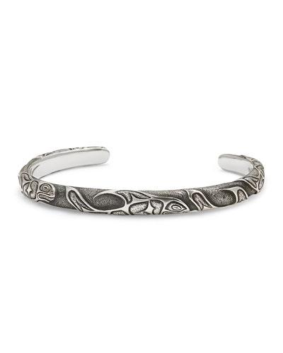 Northwest Fish-Embossed Cuff Bracelet