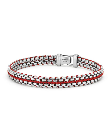 David Yurman 10mm Men's Woven Box Chain Bracelet, Red