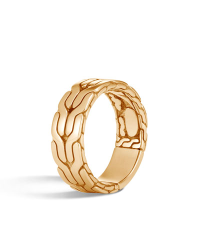 Men's Classic Chain 18k Gold Band Ring