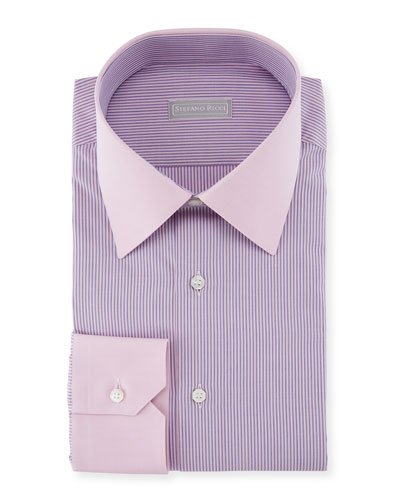 Thin Striped Dress Shirt with Contrast Cuffs/Collar