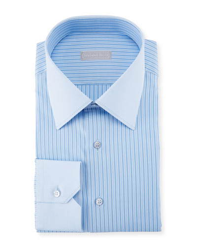 Striped Cotton Dress Shirt with Solid Cuffs/Collar