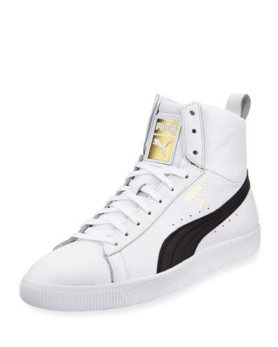 Men's Clyde Mid Core High-Top Leather Sneakers, White/Black