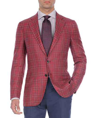 7325771f37d Quick Look. Isaia · Plaid Wool-Cotton Two-Button Blazer