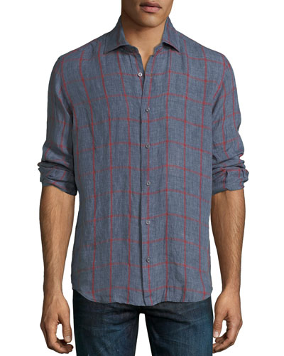 Large-Check Linen Sport Shirt