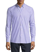 Cotton Check-Print Shirt, Lavender