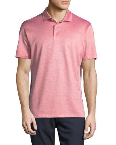 Silk-Blend Polo Shirt, Red