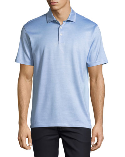 Silk-Blend Polo Shirt, Blue