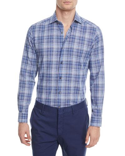 Linen-Blend Plaid Sport Shirt