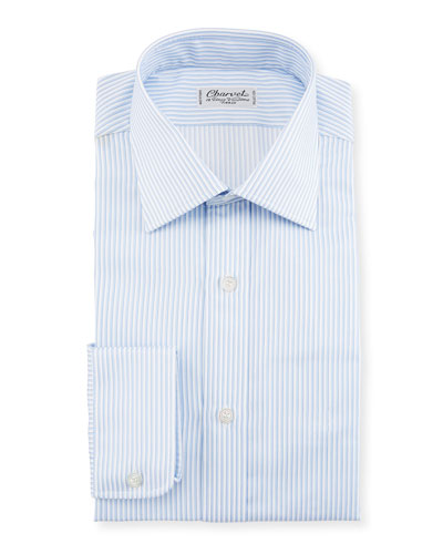 Striped Dress Shirt, White/Blue