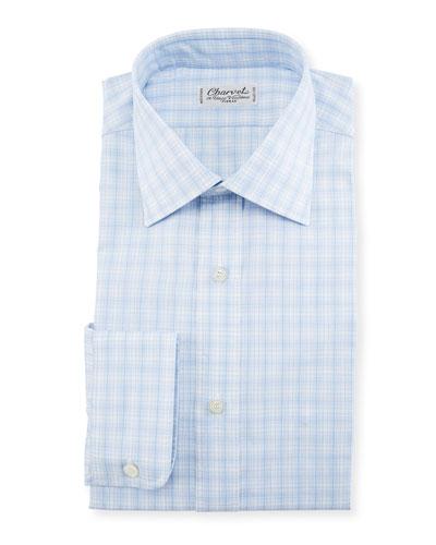 Woven Plaid Dress Shirt, Blue