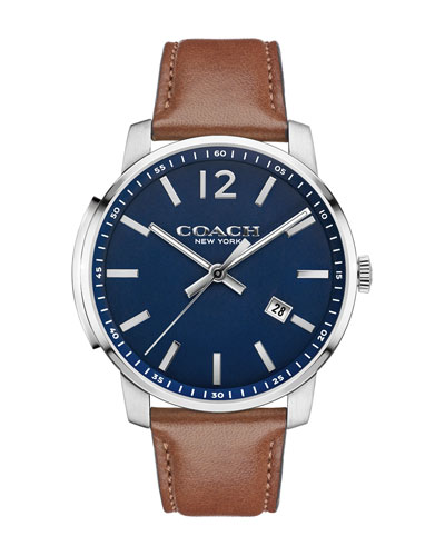 42mm Bleecker Slim Men's Watch, Brown/Blue