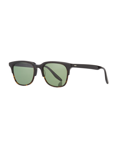 Sergei Plastic Half-Rim Sunglasses, Black