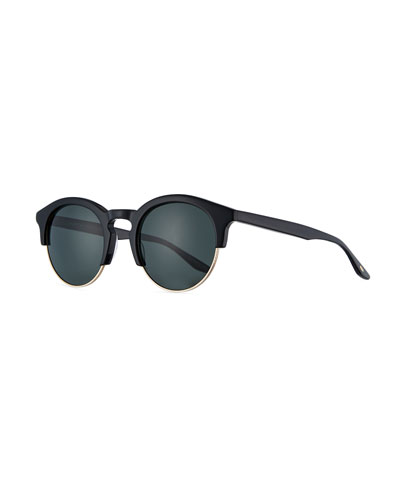 Griffin Half-Rim Round Sunglasses