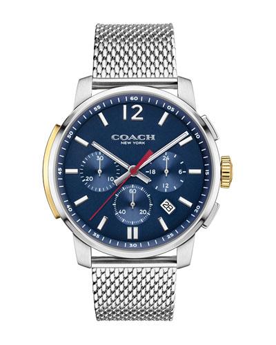 42mm Bleecker Chronograph Watch with Bracelet, Silver