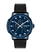 42mm Men's Bleecker Leather Watch