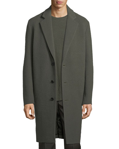 Distressed Wool-Blend Car Coat