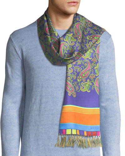 Sciarpa Men's Paisley and Stripe Fringe Scarf