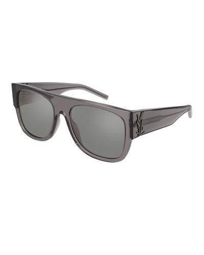 Translucent Acetate Flat-Top Sunglasses