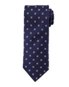 Floral-Pattern Open-Ground Silk Tie