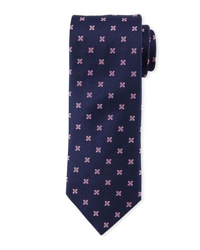 Floral-Pattern Open-Ground Silk Tie