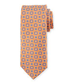 Square Medallion Silk Tie, Orange