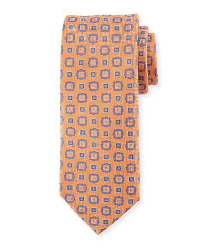 Square Medallion Silk Tie, Orange