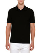 Embroidered-Collar Polo Shirt