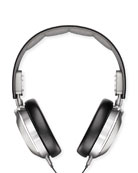 Men's Leather Over-Ear Headphones, Black/Silver