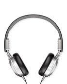 Men's Leather On-Ear Headphones, Black/Silver