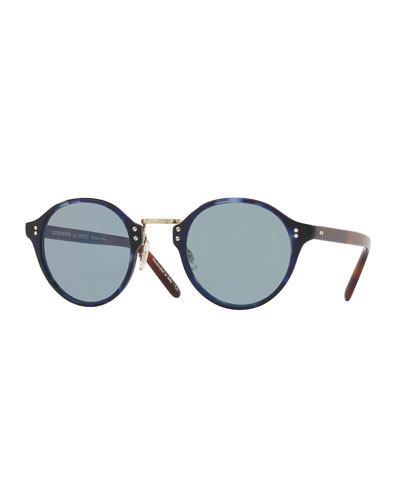 30th Anniversary Round Sunglasses, Cobalt