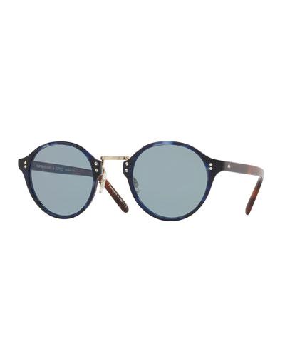30th Anniversary Round Sunglasses, Cobalt
