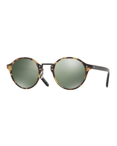 30th Anniversary Round Sunglasses, Semi-Matte Black