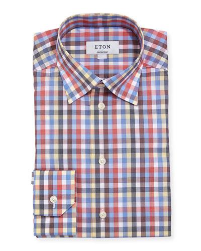 Multicolor Large Check Cotton Dress Shirt