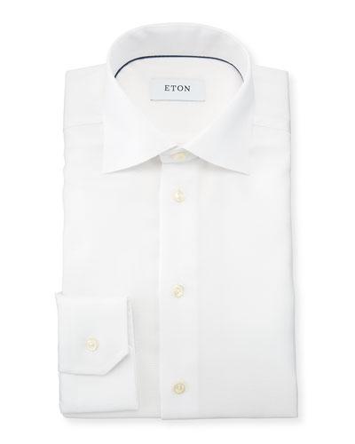 Slim-Fit Textured Cotton Dress Shirt, White